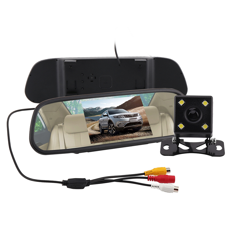 BORUiT 5 Digital Color TFT 800*480 LCD Car Parking Mirror Monitor 2 Video Input Rear view Camera Parking Assistance System sinairyu hd 800 480 car mirror monitor 5 tft lcd mirror car parking rear view monitor 2 video input connect rear front camera