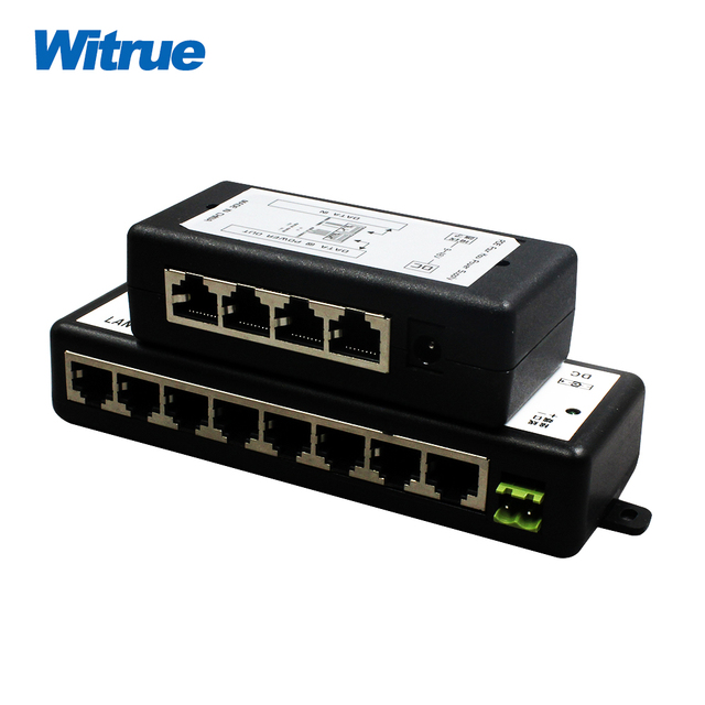 Witrue POE Injector 4 and 8 port for Video Surveillance IP Cameras 802.3af POE Power Injector