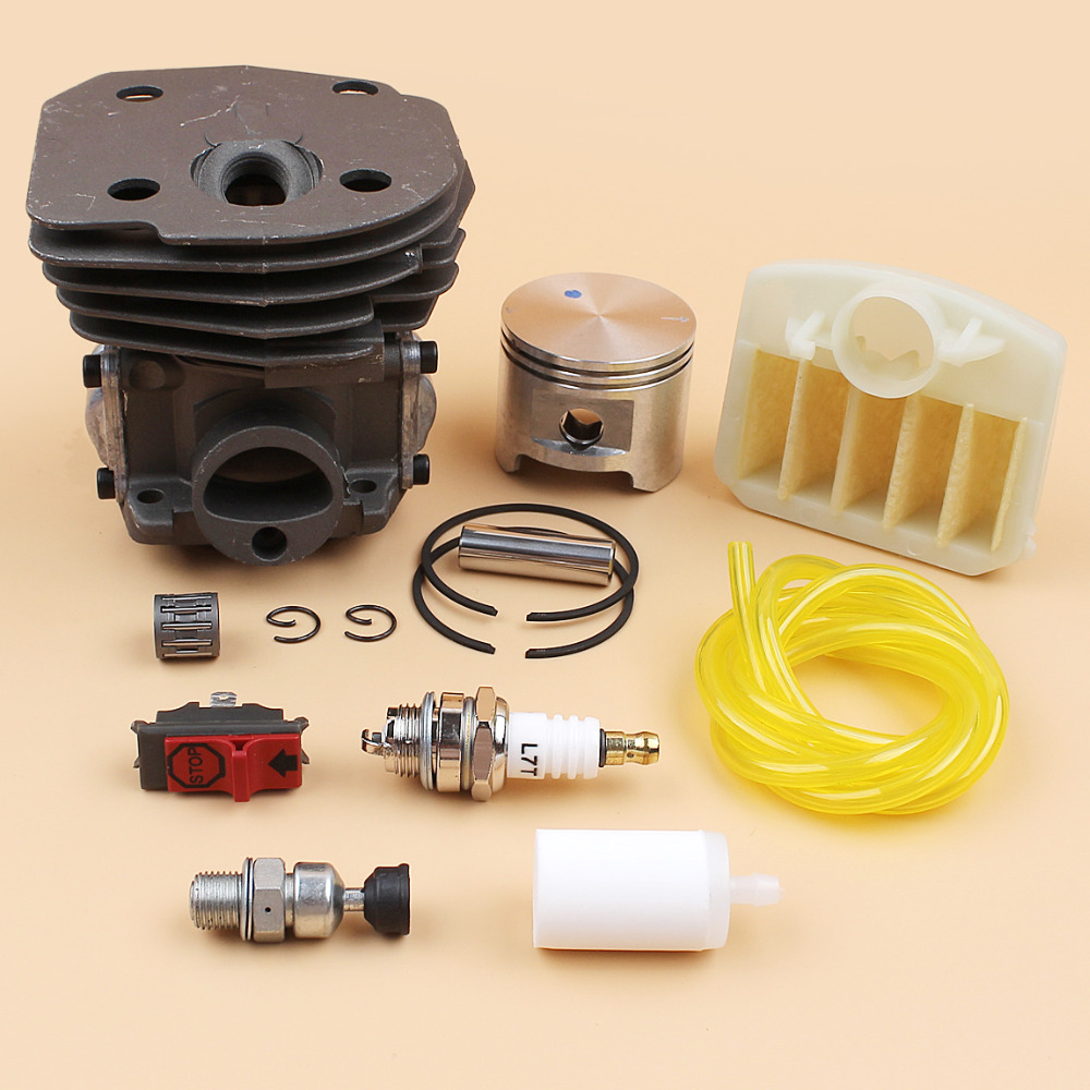 45mm Cylinder Head Piston Air Filter Switch Engine Kit Fit Husqvarna 353 351 350 346 346XP 345 340 Chainsaw Motor Rebuild Parts nikasil cylinder piston kit 45mm big bore fits husqvarna 353 351 350 346xp epa 345 340 chainsaw decompression valve fuel filter
