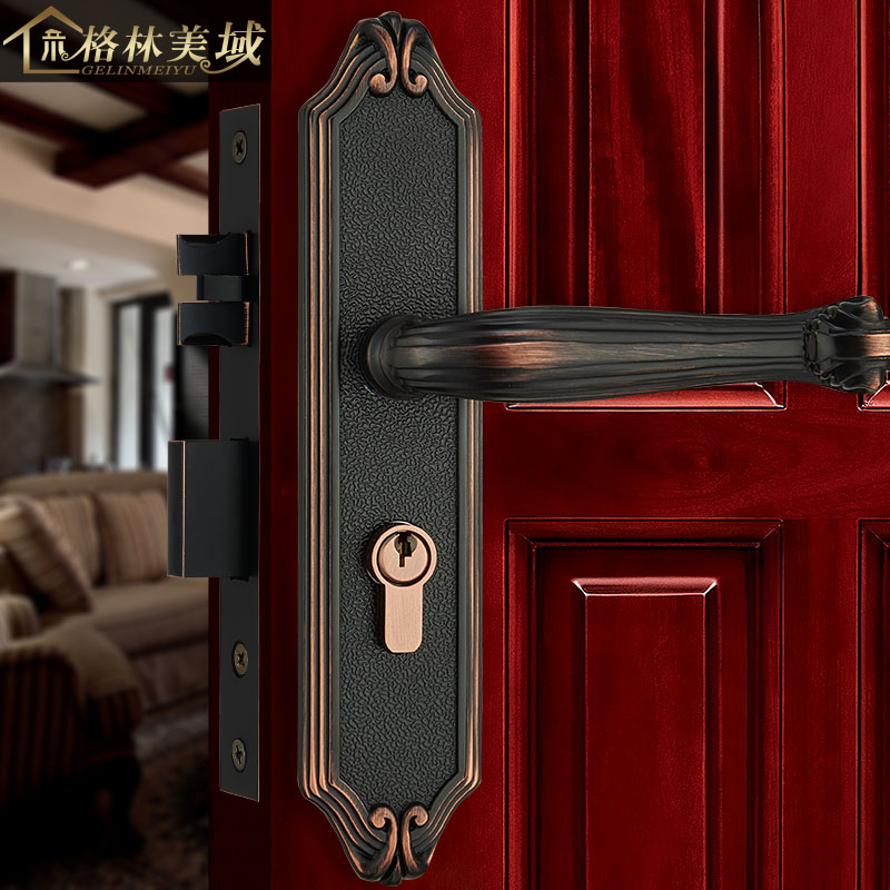 European full copper door lock American pure copper door lock interior door lock villa lock bedroom door lock цена
