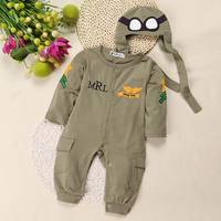 Retail Baby Boy Clothing Pilot Long Sleeve Romper Hat Two Piece Clothing Set Military Green Baby