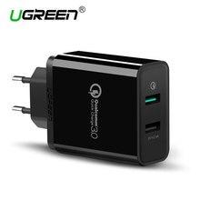 Ugreen Зарядное Устройство USB Qualcomm Быстрая Зарядка 3.0 30 Вт Быстрый Мобильный Телефон Зарядное Устройство (Быстрая Зарядка 2.0 Совместимый) для Samsung Huawei LG(China (Mainland))