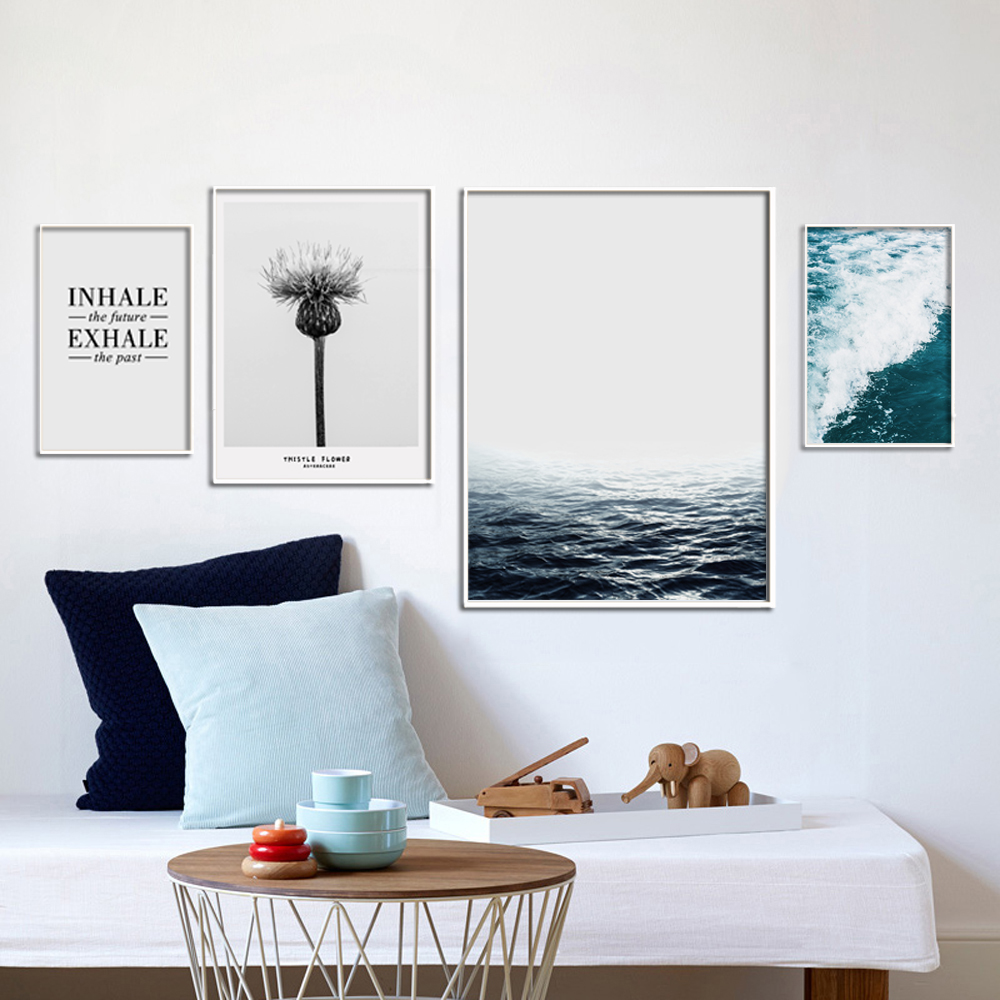 Buy nordic seascape canvas art print for Minimalist wall decor