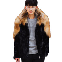 2017 Autumn Winter Faux Leather Coat Men Faux Silver Fox Fur Male Leather Jacket Hooded Mens