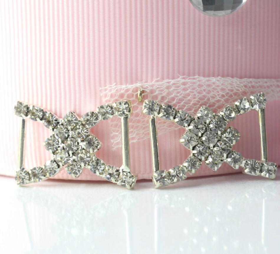 50pcs New Design Clear White Sparkle Crystal A Grade Rhinestone Ribbon  Buckle Slider Wedding Invitation Sewing