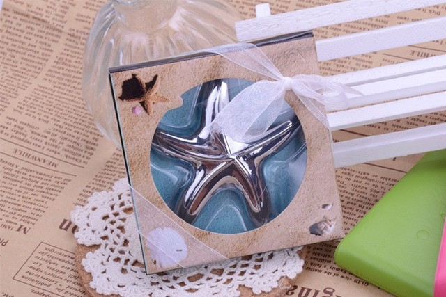 beach theme wedding party favor gift and giveaways for guests starfish bottle opener bridal shower