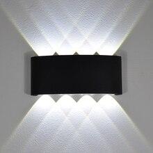 YooE 현대 4W 6W 8W 실내 LED 벽 조명 노르딕 야외 방수 IP65 아래로 Sconce 거실 베란다 정원 벽 램프