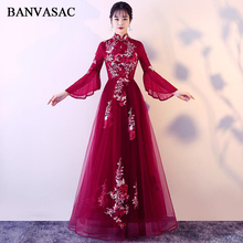 BANVASAC 2018 Vintage High Neck Lace Appliques A Line Long Evening Dresses Party Flare Sleeve Backless Prom Gowns