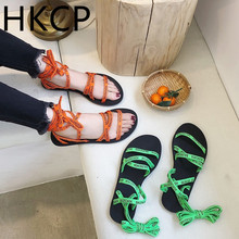 HKCP Fashion 2019 summer new Korean version of the fish mouth cross strap schoolgirl flat sandals gladiator shoes C407