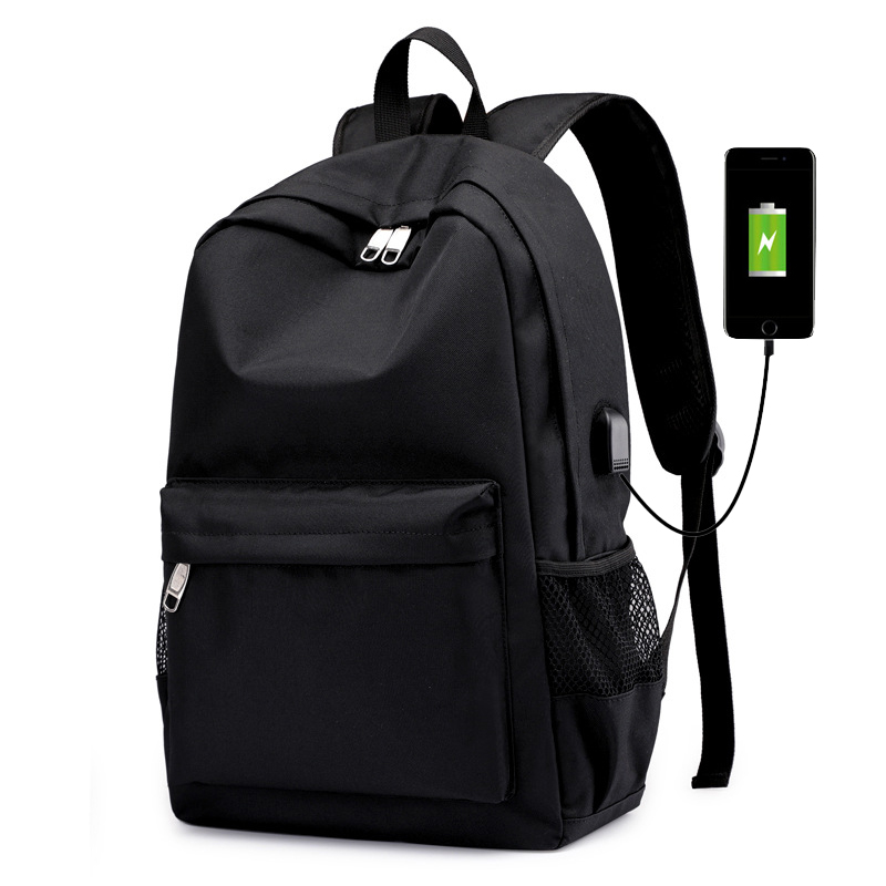 Black Nylon Man Backpack Usb Charging Men Back Pack Bagpack Big Capacity Student School Bags For Teenage Boys 2019