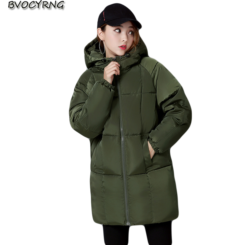 Fashion Hooded Warm Coat Winter Jacket Woman Leisure 2017 Solid Color Zipper Down Cotton Parka Girls Thicke Slim Outwear Q965