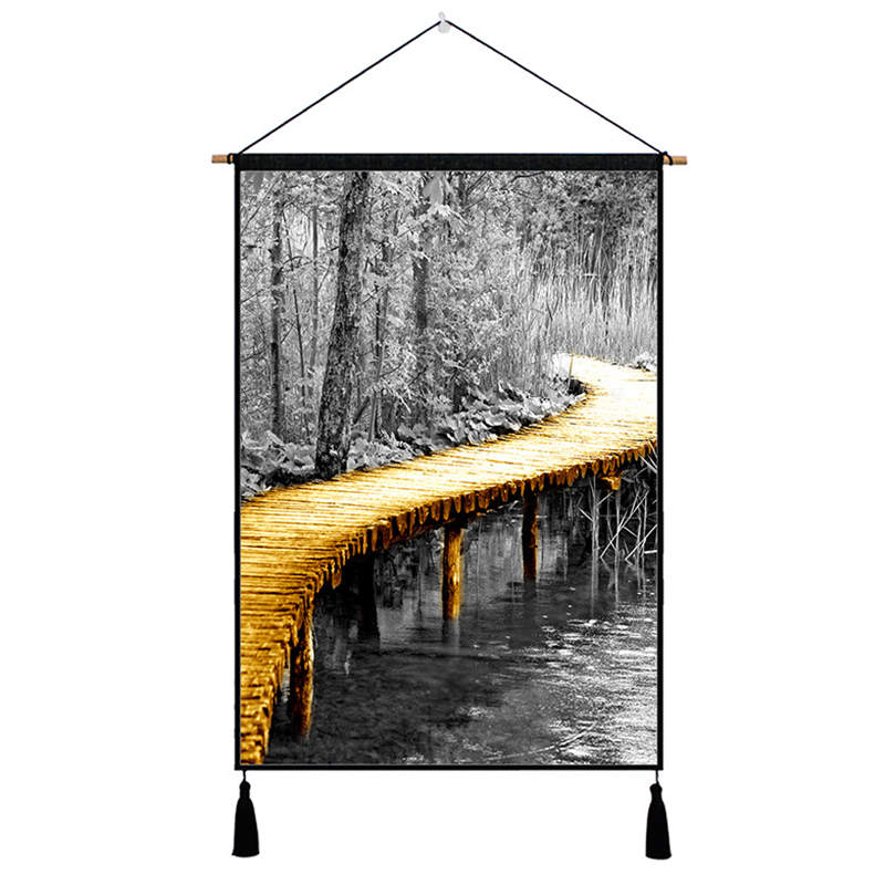 Gold Bridge Print Hanging Painting Wall Art Picture Poster Modern Solid Cotton Scroll Mural for Livingroom Background Home Decor in Painting Calligraphy from Home Garden