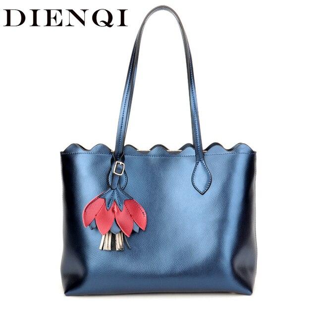 055849ff0398 DIENQI 100% Genuine Leather Women Handbags Luxury Brand Designer Big Female  Shoulder Bags Gold Flower