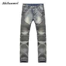 2016 Denim men brand jeans washed classical fashion casual schcool style zipper button  pocket direction sexy tight pants
