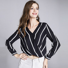 купить 100% Silk Blouse Women Shirt Simple Design Striped Cross V Neck Long Sleeves Irregular Hem Office Work Top New Fashion 2018 онлайн