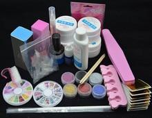 Professional Full Set UV Gel Kit Nail Art Set + 6 Powders Glues FILE BLOCKS Primer Tips tools art