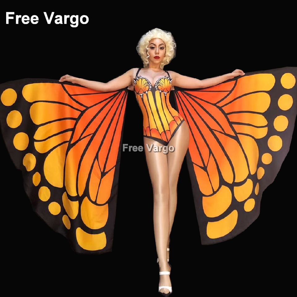 Drag Queen Costumes Butterfly Sexy Burning Man Jumpsuit Women Stage Dance Showgirl Nightclub Singer Bodysuit Costume