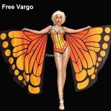 купить Drag Queen Costumes Butterfly Sexy Burning Man Jumpsuit Women Stage Dance Showgirl Nightclub Singer Bodysuit Costume по цене 5957.65 рублей