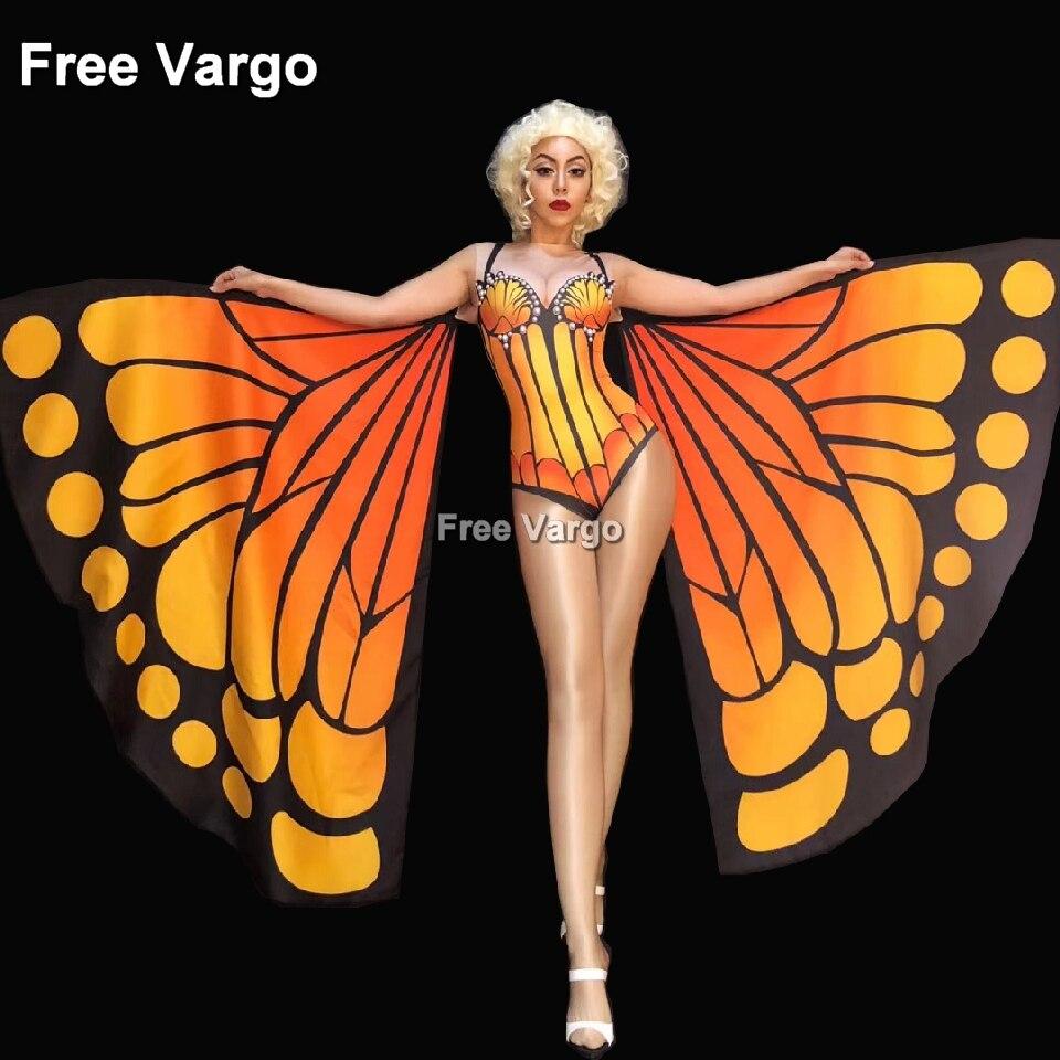 Openhartig Drag Queen Kostuums Vlinder Sexy Burning Man Jumpsuit Vrouwen Stage Dance Showgirl Nachtclubzangeres Bodysuit Kostuum Goed Verkopen Over De Hele Wereld