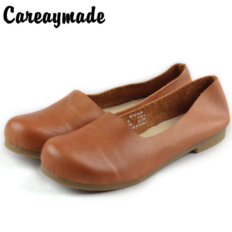 Careaymade Spring Genuine Leather Shoes Pure Handmade Flat Shoes Women the Retro Art Mori Girl Shoes