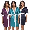 Plus Tamaño de Las Mujeres Corto Atractivo Del Satén Robe Lingerie Ropa de Dormir Camisón de Mujer Patchwork Vestido de Salón de Seda Batas de Boda de dama de Honor