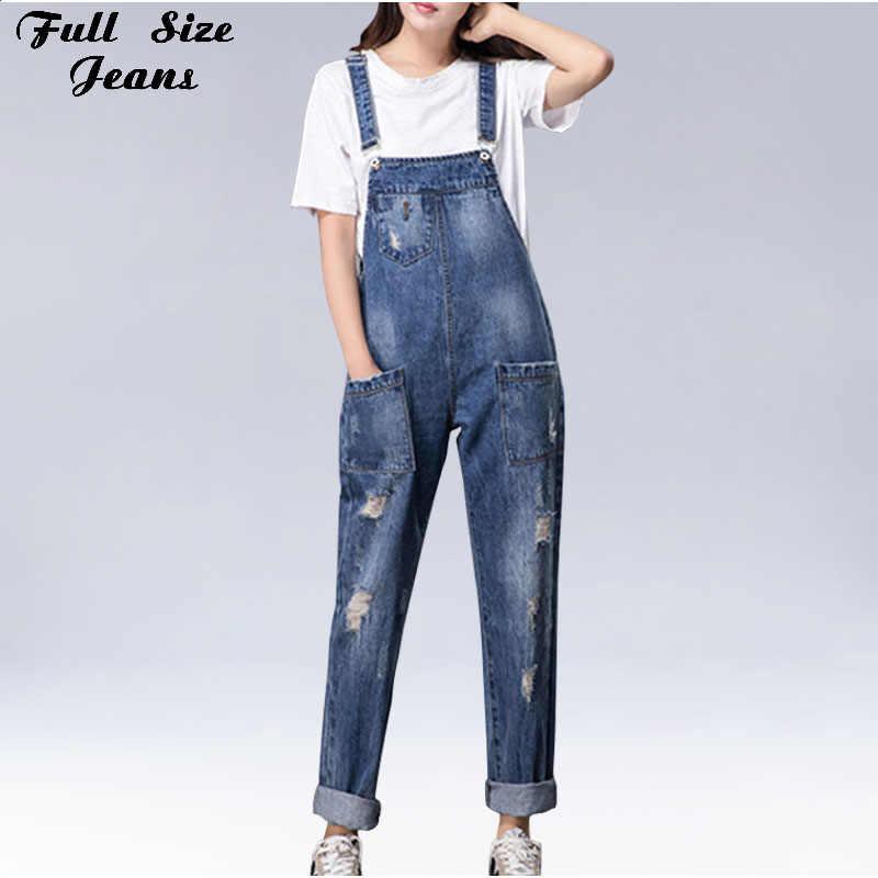 Большие размеры женские широкие свободные рваные джинсовые комбинезоны Европейский комбинезон бойфренд отверстие карманы джинсовый комбинезон s m XL 3XL 5XL 6XL