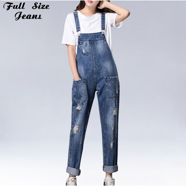 baf5c60100e Plus Size Women Wide Leg Loose Ripped Denim Overalls Europe Jumpsuit  Boyfriend Hole Pockets Jeans Romper S M XL 3XL 5XL 6XL