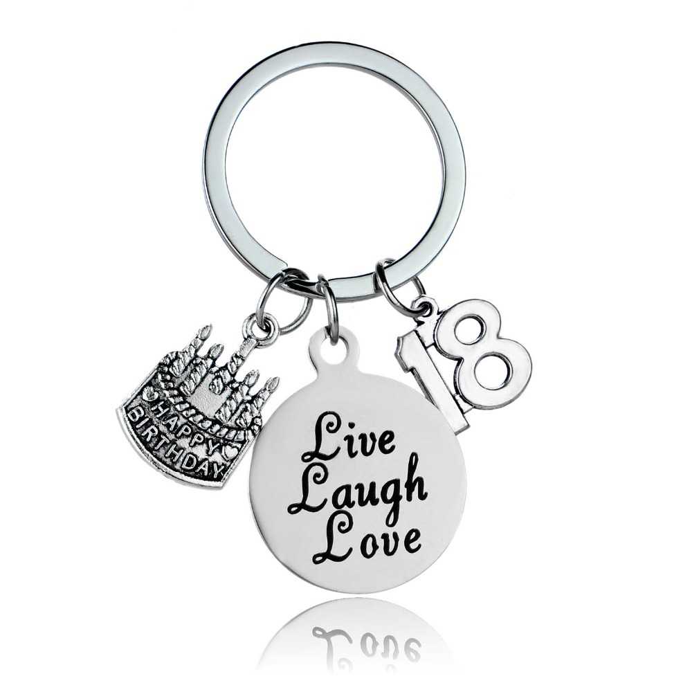 Stainless Steel Lucky Number 18th Birthday Gift For Women Men Friend Cake Live Laugh Love Charm Keyring Key Chain Fob