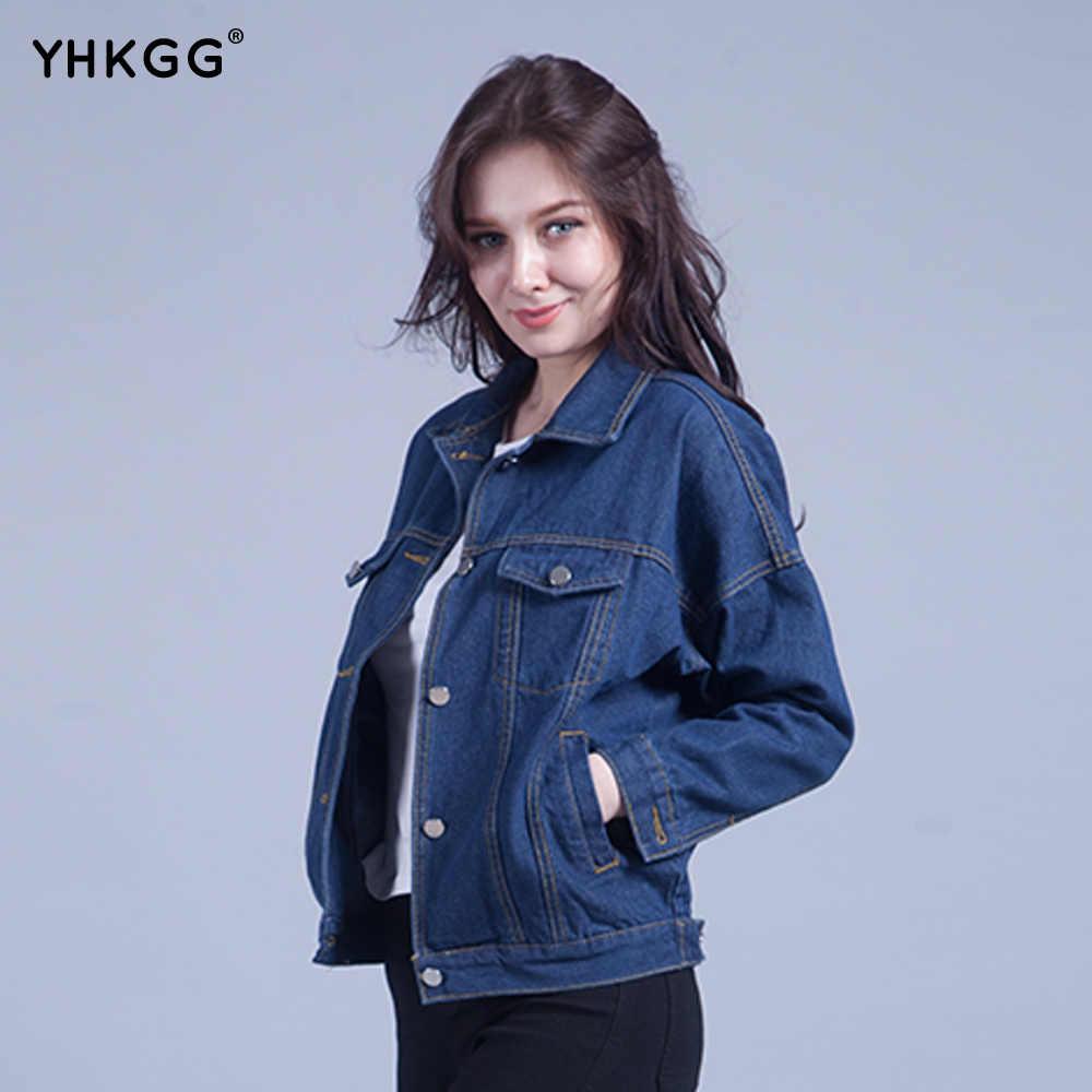 YHKGG2018 Для женщин одноцветное пальто Джинсовая куртка Для женщин Зимняя джинсовая  куртка для Для женщин джинсовая 81f56425137