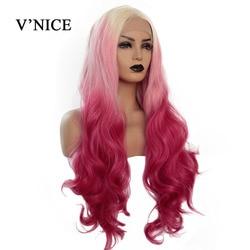 Peluca ondulada V'NICE, peluca frontal de encaje sintético rosa y Rojo para mujeres blancas, peluca de pelo frontal de fibra resistente al calor con ondas largas para Cosplay