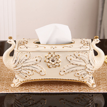 Europe peacock ceramic tissue box home decor crafts room decoration paper holder ornament porcelain case wedding gifts