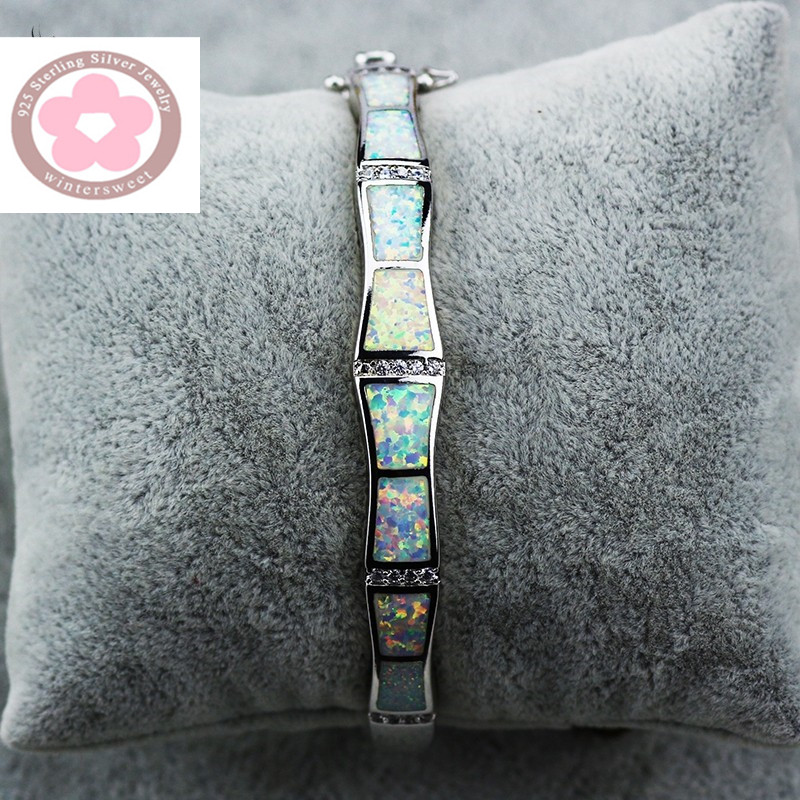 SZ0028 Unique Design Fire Opal Bangles Silver Bracelets Jewelry For Women Pulseiras Lovers Gift Pulseras SZ004