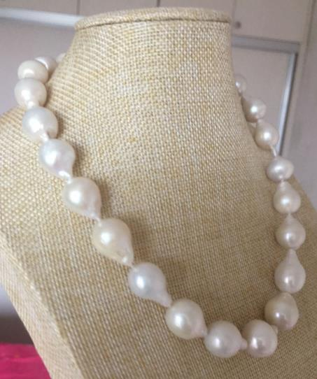 Magnifique baroque14-collier de perles blanches de la mer du sud 15mm 18 pouces argent 925Magnifique baroque14-collier de perles blanches de la mer du sud 15mm 18 pouces argent 925
