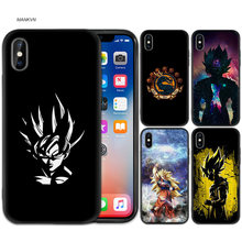 Black Rubber Soft Silicone Case Bag Cover for iPhone XS XR X 7 8 6 6S 5C 5E 5S 5 Plus Max Shell Fundas Dragon Ball Z Son Goku(China)