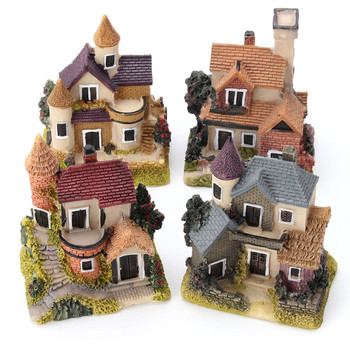 Cute Mini Resin House Garden Decoration Resin Crafts