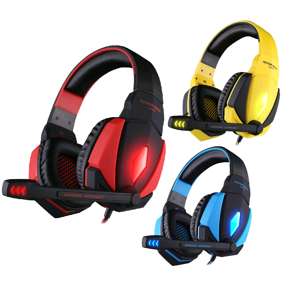 Kotion EACH G4000 USB Stereo Gaming Headset  Headband Game Headphone with Microphone Volume Control LED Light for PC Gamer xiberia k9 usb surround stereo gaming headphone with microphone mic pc gamer led breath light headband game headset for lol cf