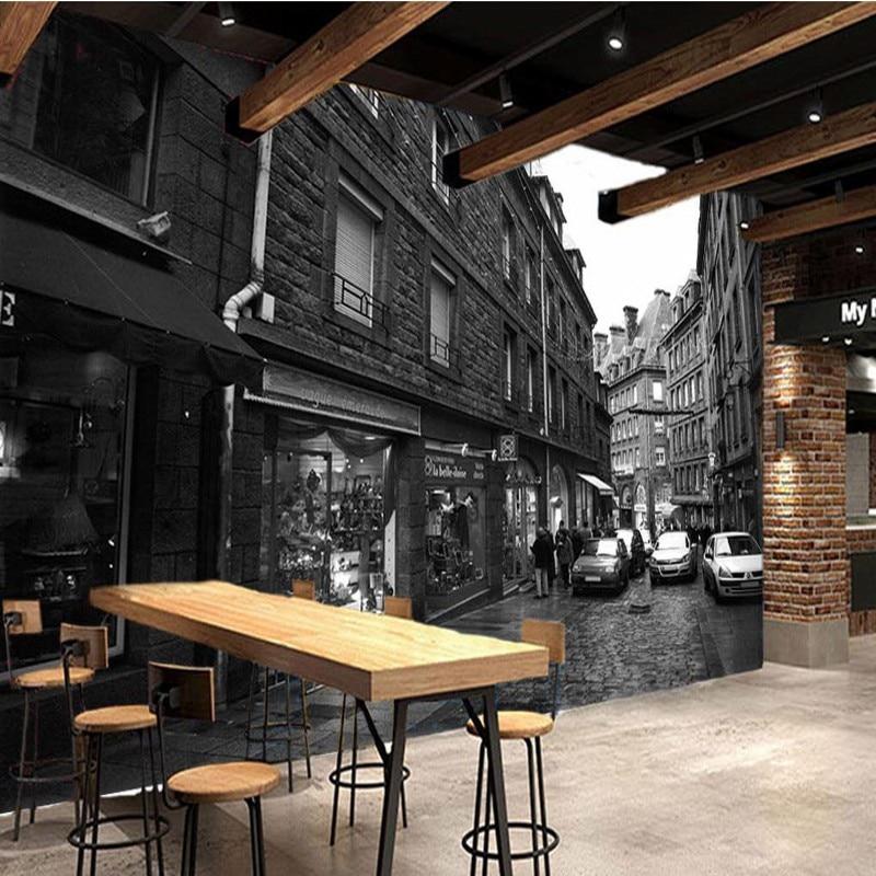photo wallpaper Retro black white city street fresco bar ...