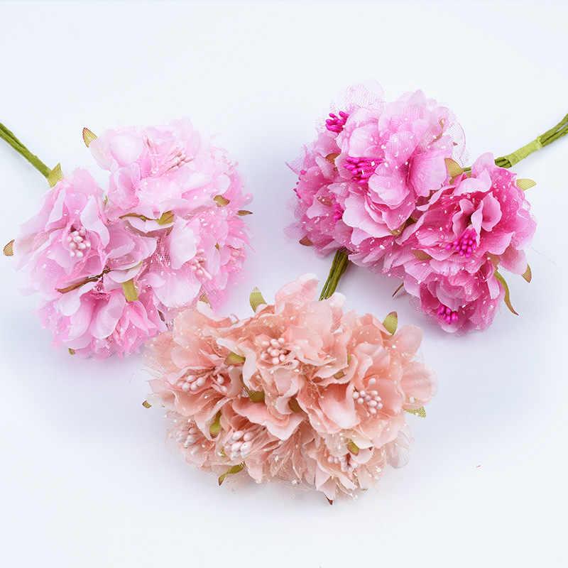 6 pçs de seda cravo bouquet falso stamen para o casamento casa decoração acessórios diy presentes nupcial broche scrapbook flores artificiais