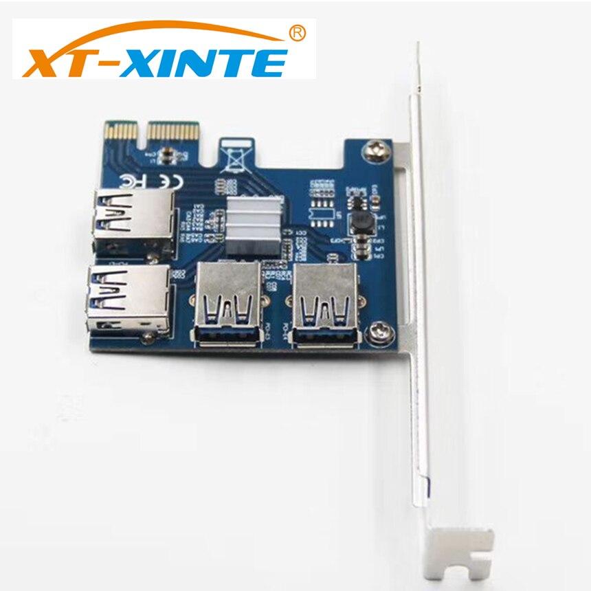 XT-XINTE PCI-E Riser Card USB 3,0 PCIe Puerto multiplicador tarjeta PCI Express, PCIe 1 a 4 PCI-E Tarjeta de adaptador para BTC minero de la máquina