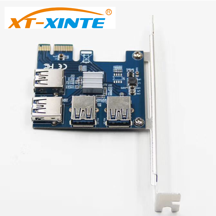 XT-XINTE Riser Card PCI-E USB 3.0 PCIe Port Multiplier Card PCI Express PCIe 1 to 4 PCI-E to PCI-E for BTC Miner Machine