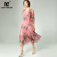 Women's 100% Silk Dresses Sexy V Neck 3/4 Sleeves Tiered Ruffles Floral Printed Fashion Natural Silk Summer Dresses