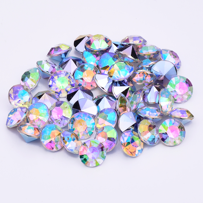 JUNAO 1.5 2 3 4 6 8 10 12 mm Clear AB Crystals Acrylic Rhinestones Pointback  Round Nail Crystal Stones Non Sewing Strass Beads 3da0a3659aba