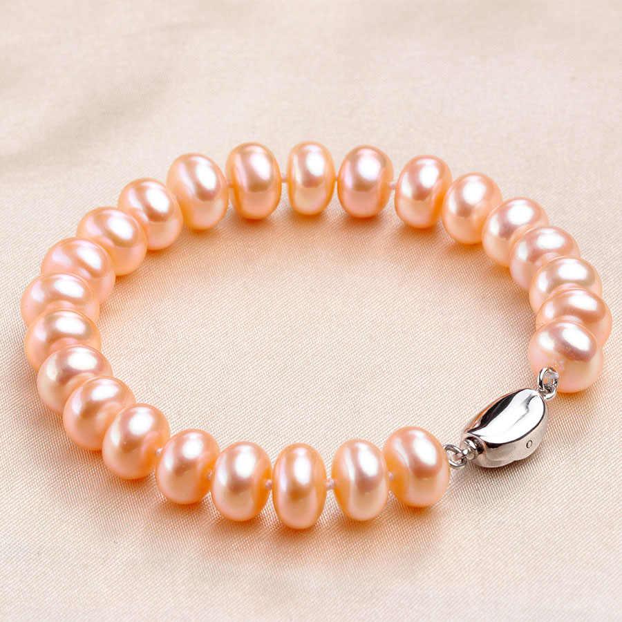 高品質天然淡水真珠のブレスレット女性のためのアメージング価格 7-8 ミリメートル/9-10 ミリメートル真珠ジュエリーシルバー 925 ブレスレット 18 センチメートル