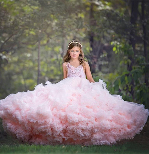 цена на Pink Cloud Princess Puffy Flower Girl Dresses Wedding Party Prom Gown Girls Pageant Birthday Gown Custom Made Size 2 4 8 10 14