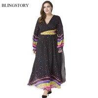 BLINGSTORY European And American Fashion Polka Dot Lantern Sleeve V Collar Women's Large Size Autumn Long Chiffon Dress CM9031