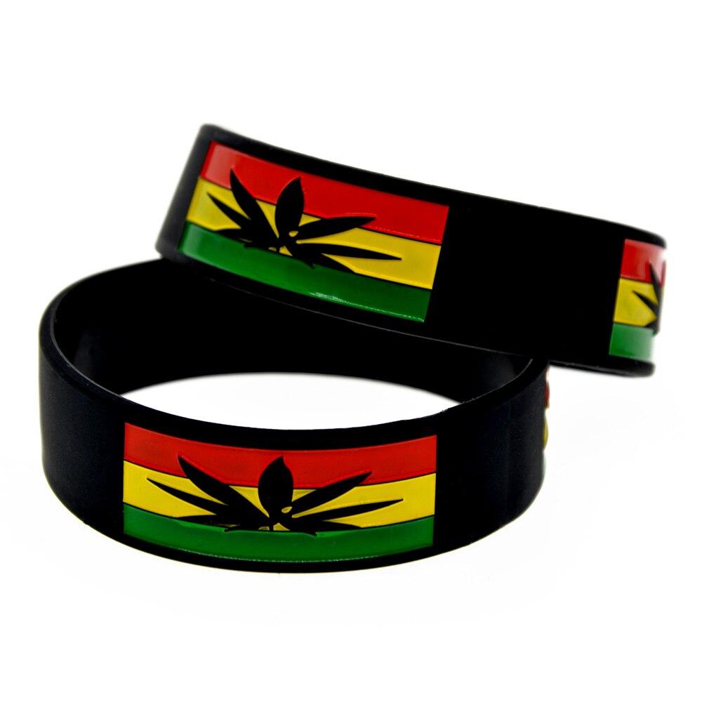OneBandaHouse 25PCS/Lot Jamacia Weed Silicone Wristband 1 Wide Band