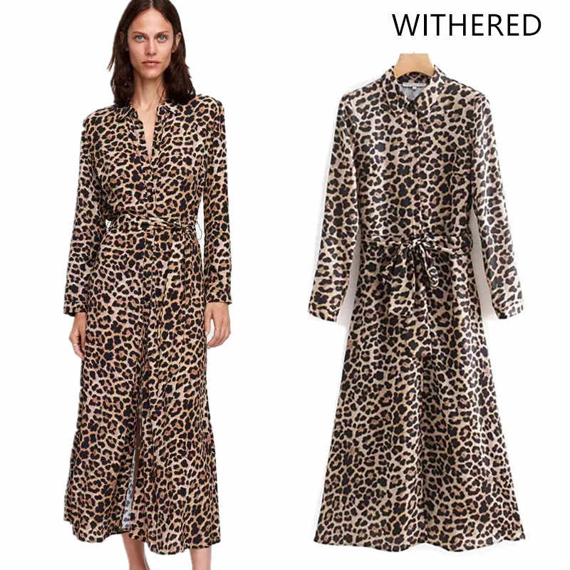 911700beef79 Withered 2018 vestidos feminina dress england style leopard print sashes  bow turn-down collar midi