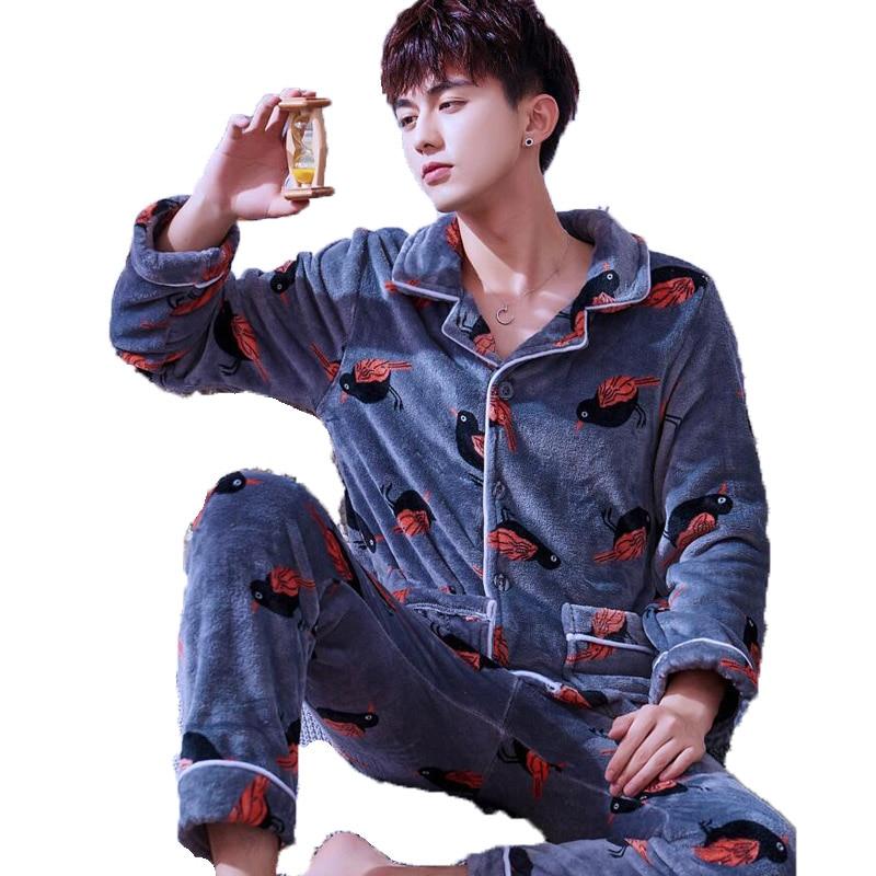 Men Pajama Set Long Sleeve Long Pants Pyjamas Suits Winter Thick Coral Fleece Warm Sleepwear Night Suit Men Nightwear Loungewear