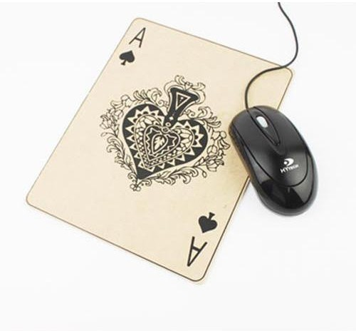 Poker ace wooden PC mouse pad 184*238*3mm christmas gift free shipping