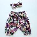 Bebé pantalones de la muchacha al por menor 2016 Nueva otoño del verano del algodón embroman los pantalones niños Niñas Pantalones Casuales Niños pantalones de Harén con arco nudo